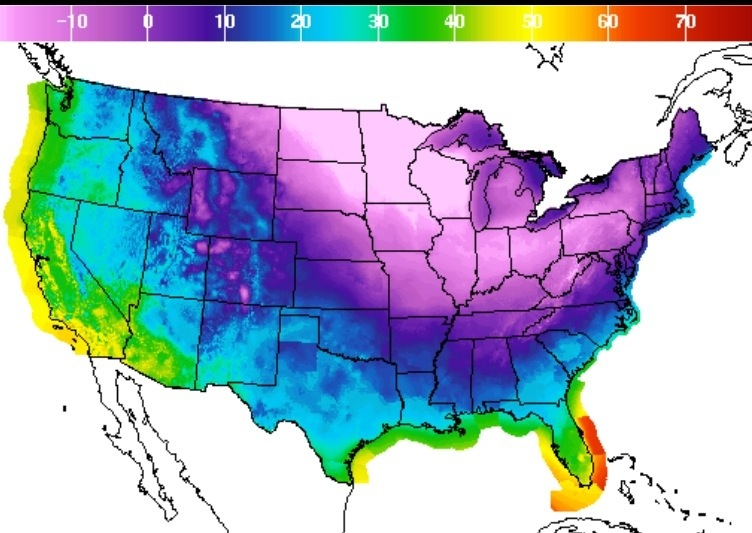 USA freezing temperatures