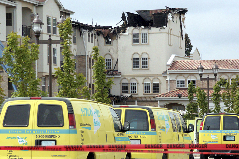 commercial fire damage - hotel